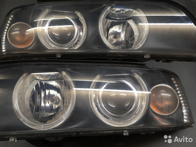 Фары БМВ E39 ксенон рестайлинг, белые поворотники