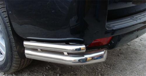 Защита заднего бампера (уголки) 76,1х42,4 мм Toyota Land Cruiser Prado 150